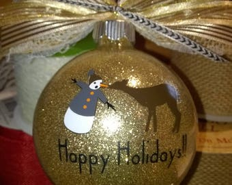 Holiday Ornament - whimsical deer and snowman - gold ball with coordinating ribbon