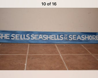 Painted wood sign - she sells seashells by the seahorse
