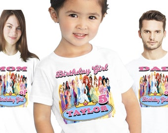Disney Princess birthday shirt | Birthday outfit | Family shirts  | Personalized | Themed | Party | Decorations | Boys | Custom |