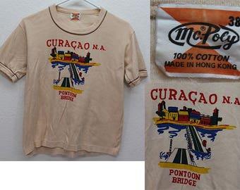 Women's Vintage Shirt Curacao Caribbean Island Pontoon Bridge Tourist Orange Brown XS X 36 38 McPoly Cotton