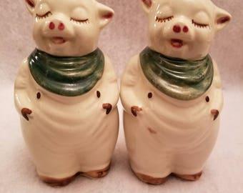 Vintage Shawnee Pottery Salt and Pepper Pigs pair