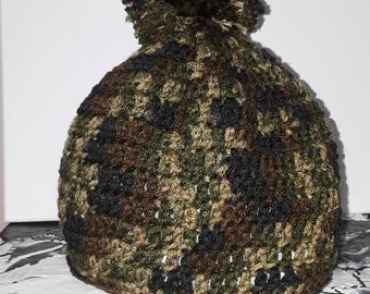 Camouflage Winter Hat, Hand made,Does not irritate/Itch