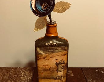 Book Rose in Vintage Bottle