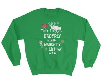 This Orderly on Naughty List, Funny Christmas Sweatshirt, Santa, Elf, Gifts for Her, Gifts for Him, Holiday, Long Sleeve