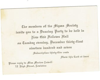 1907 Invitation Card to Sigma Society New Year's Eve Dance at Odd Fellows Hall Lewiston Maine