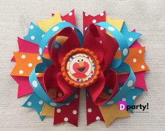 Sesame Street Hair Bow, Elmo Headband, Elmo Hairbow, Elmo Birthday, Boutique Hair Bow, Elmo Outfit, Gift for Girls