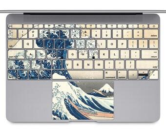 the Wave off Kanagawa MacBook keyboard art MacBook keys decal painting MacBook pro sticker MacBook Air keypad skin MacBook Retina case KB048