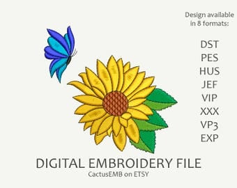 INSTANT DOWNLOAD - Sunflower machine embroidery design. Flowers embroidery. Embroidery design