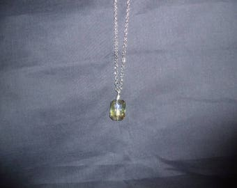 Handmade green glass pendant with silver chain