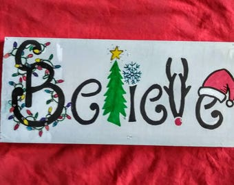 Hand Crafted Christmas Believe Sign