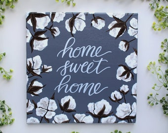 """12""""x12"""" Home Sweet Home Hand Painted Canvas / Calligraphy"""