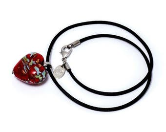 LETICIA - Murano Glass Hand-made Heart Necklace