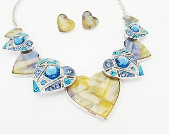Heart Necklace and Earrings, Mother of Pearl Heart Necklace Set, Heart Jewellery Set, Blue Heart Jewelry Set, Heart Necklace Set