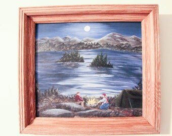 Moonlight Camping, Acrylic, One of a Kind,Hand Painted Wall Art,Wilderness Inspired, Made in Maine,Framed, Campfire by the Lakeside,Dad Gift