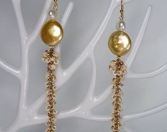 Yellow Moon Natural Pearl Czech Tangle Drop Earrings Boho Style