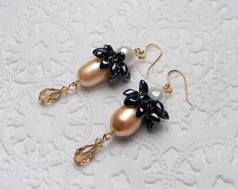 18K GOLD Natural Pearl Swarovski Crystal Amber Drop Earrings