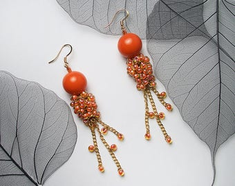 STATEMENT Orange Craze Cascade Style Fashion Bead Earrings For Special Occasion