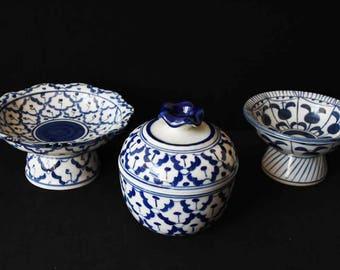 Three Thai style porcelain