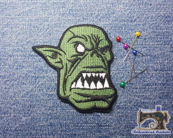 Ork face Patch - SMOrk face Patch - Embroidered patch - Iron on Patch - Sew on Patch