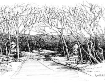 ink sketch of landscape