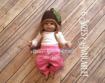Acorn Hat - 6 sizes available; tree, nut, chipmunk, squirrel   ***READY TO SHIP***