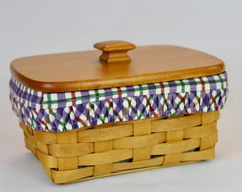 Longaberger Address Basket with Blueberry Plaid Liner, Protector and Woodcraft Lid
