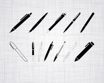 Pen SVG Bundle, Pen SVG, Pen Clipart, Pen Cut Files For Silhouette, Files for Cricut, Pen Vector, Svg, Dxf, Pen Png, Eps, Pen Decal