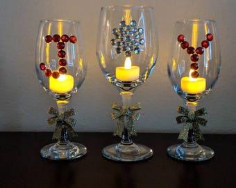 JOY wine glasses, Home decor, Christmas gift, Thanksgiving gift, Housewarming gift, Monogram, Graduation, Festival of lights, Anniversary