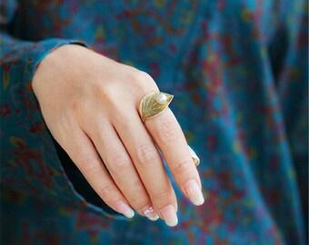 Anel 925 Folhas de Prata Esterlina Anel de 100% Belas Pérolas Naturais Anéis Ajustáveis