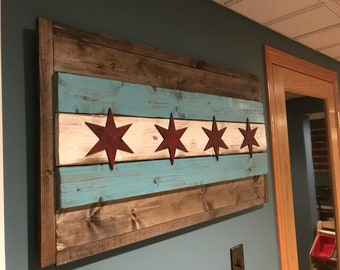 Rustic 3D Wood Chicago Flag Sign, Aged And Distressed, Farmhouse, Shabby  Chic Home