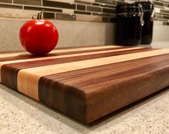 Handmade wood cutting board: black walnut, sugar maple, and jatoba.
