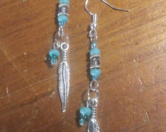 Teal Feather Drop Earrings