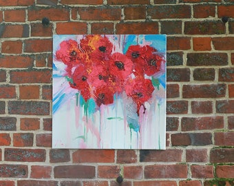Red Poppies painting, Abstract flowers wall art, Red flower abstract, Oil painting red, Abstract oil canvas, Red white, Contemrorary art