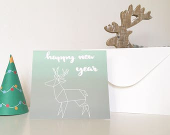 New year card *origami reindeer* in green