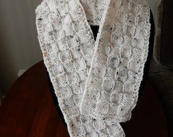 Scarves, hand knit, basket weave, tweed, acrylic yarn