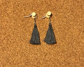 Charcoal Grey Tassel Earrings