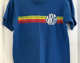 Vintage NRA t-shirt blue with rainbow print