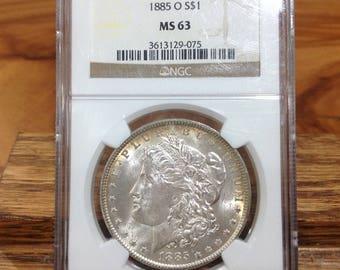 1885 O Morgan Silver Dollar NGC MS 63