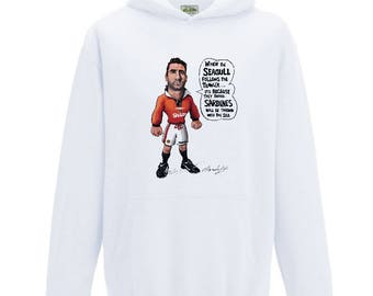 90' midfield legend Eric Cantona Caricature on comfortable white hooded sweater.