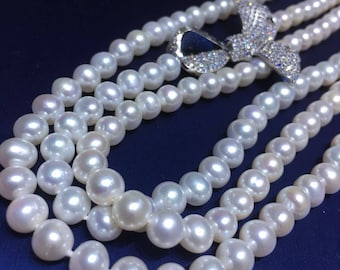 7-8mm Natural White Freshwater Pearl Hand knotted 48 Inch Long Necklace, High Luster Natural Pearl Long Necklace w/Cubic Zirconia Bow Accent