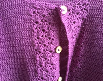 Crochet Ladies Cardigan Purple.