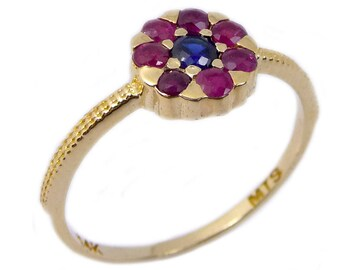 14K gold ring, a flower design, Ruby and Sapphire