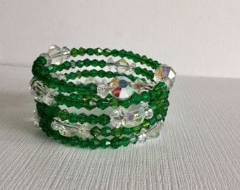 Sparkling Green and Clear Crystal Memory Wire Wrap Around Bracelet