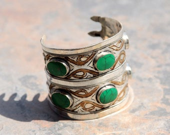 BRACELET (1pc) Turkoman Tribal Real MALACHITE Gold Plated BellyDance 501a4