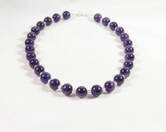 Amethyst ball and rock crystal, 925 sterling silver necklace