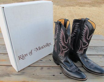 1991 Vintage Rios Of Mercedes M500 Black Leather Boots Size 11 Mens Size A140