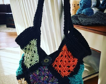 Crochet multicolored vintage handbag