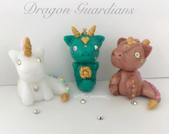 Choice of Pink and Gold Galaxy or Glitter and Pastel Rainbow Baby Dragon Guardian Miniature Collectible Figurines