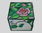 Stained Glass Box, Jewelry Box, Home Decoration, Glass Art, Living Room Decor, Bedroom Decor, Desktop Box, Pink Rose, Gorgeous Lover Gift
