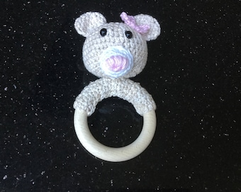 Handmade bite ring with rattle